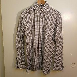 ERMENEGILDO ZEGNA Cotton Ghost Plaid Shirt, Small